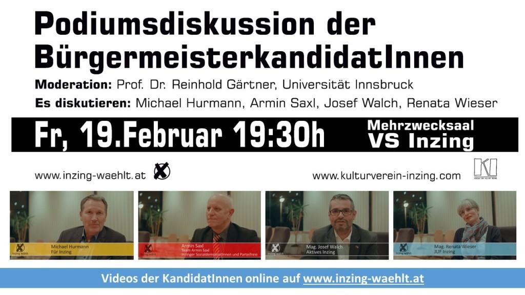 Podiumsdiskussion Bürgermeisterwahl Inzing 19 02 2016